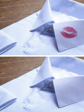 Stylish shirt before and after dry-cleaning on table, closeup