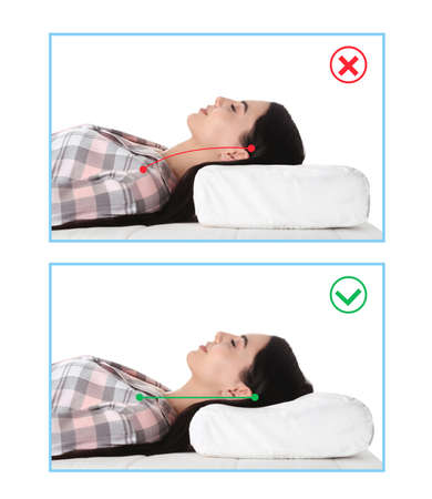Wrong and correct sleeping posture. Choose right pillow and mattress Archivio Fotografico - 147914298