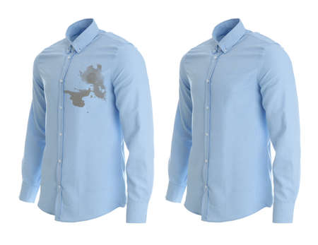 Stylish shirt before and after dry-cleaning on white background Zdjęcie Seryjne