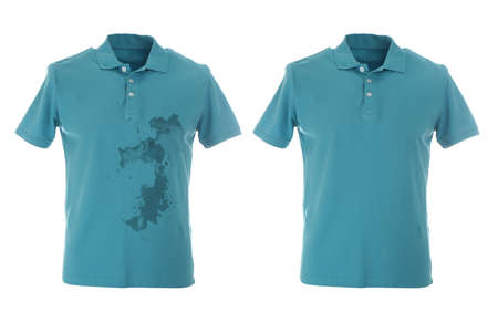 Stylish polo shirt before and after dry-cleaning on white background