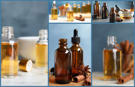 Collage of different photos with essential oils and cinnamon sticks