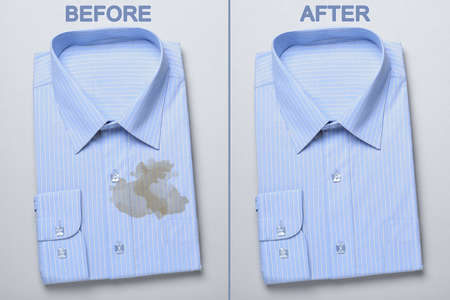 Stylish shirt before and after dry-cleaning on white background, top view Zdjęcie Seryjne