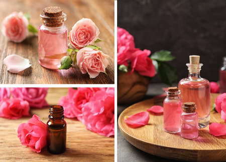Collage of different photos with essential oils and flowers