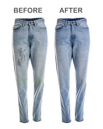 Stylish jeans before and after dry-cleaning on white background