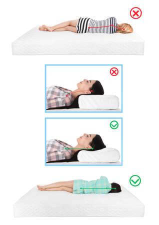 Wrong and correct sleeping posture. Choose right pillow and mattress
