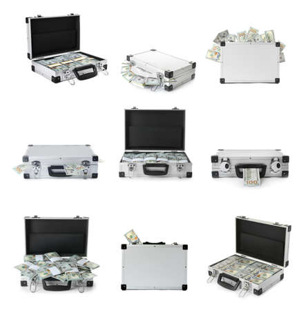 Set of suitcases with money on white background Stock fotó