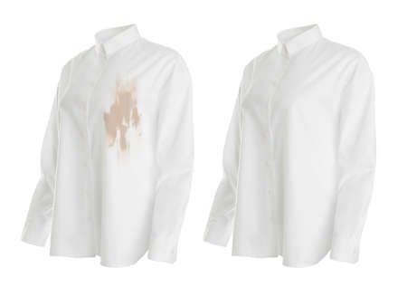 Stylish shirt before and after dry-cleaning on white background