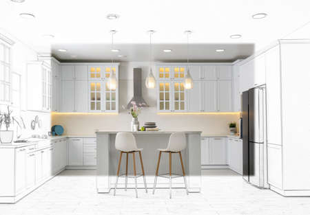Modern kitchen with stylish white furniture. Illustrated interior design Stock Photo