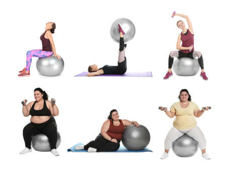 Collage of women with fitball doing exercises on white background Foto de archivo