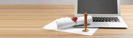 Notary's public pen and sealed document near laptop on wooden table, space for text. Banner design
