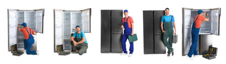 Collage of technical workers near refrigerators on white background. Banner design