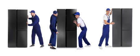 Collage of workers carrying refrigerators on white background. Banner design