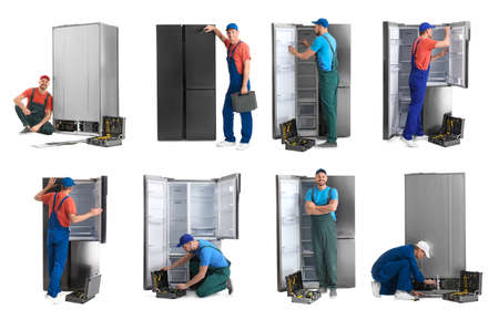 Collage of technical workers near refrigerators on white background