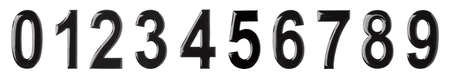 Digits from to 9 made of melted chocolate on white background. Banner design