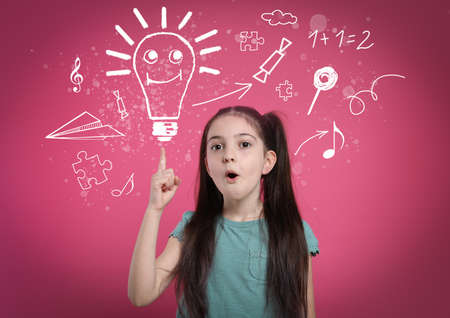 Creative illustration and thoughtful little girl on pink background. Idea generation Banque d'images