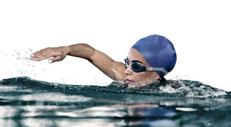 Young athletic woman swimming in pool against white background