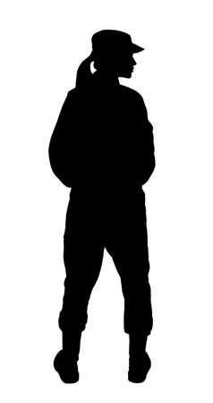 Silhouette of soldier in uniform on white background. Military service Stock fotó