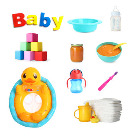 Set with different baby accessories on white background