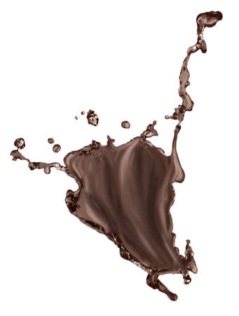 Splash of melted chocolate on white background