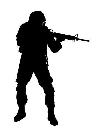 Silhouette de soldat avec fusil d'assaut sur fond blanc. Service militaire