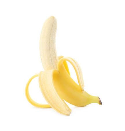Peeled delicious ripe banana isolated on white 版權商用圖片