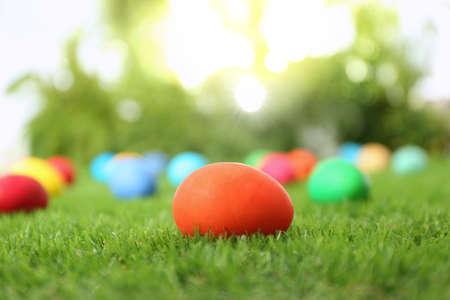 Oeufs de Pâques colorés sur l'herbe verte à l'extérieur Banque d'images