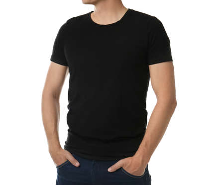Man in black t-shirt on white background, closeup. Space for design Stock fotó