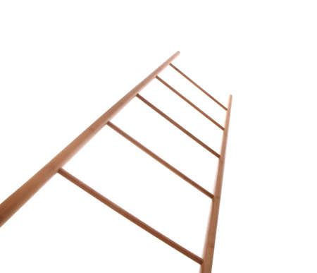 Modern wooden ladder isolated on white, low angle view
