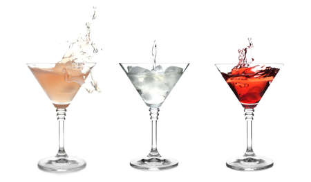 Set with different martini cocktails on white background Stockfoto