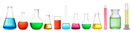 Set of laboratory glassware with colorful liquids on white background. Banner design