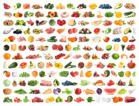 Set of different food on white background