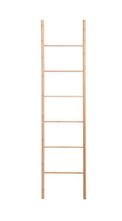 Modern wooden ladder isolated on white. Construction tool Archivio Fotografico