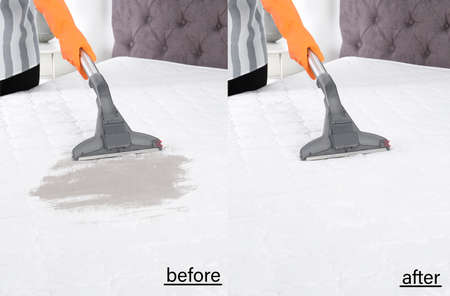 Woman disinfecting mattress with vacuum cleaner, closeup. Before and after cleaning