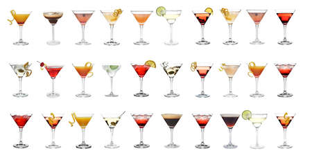 Set with different martini cocktails on white background, banner design