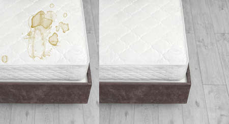 Mattress before and after cleaning indoors