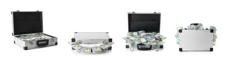 Set of suitcases with money on white background. Banner design