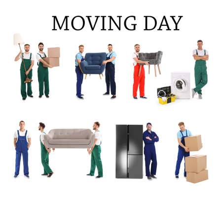 Collage with photos of workers carrying furniture and appliances on white background. Moving service Reklamní fotografie