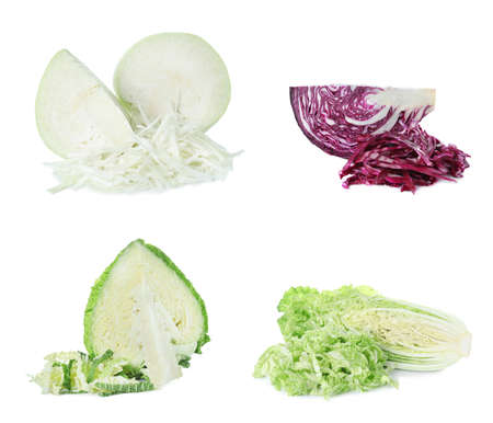 Set of different fresh cabbages on white background Archivio Fotografico