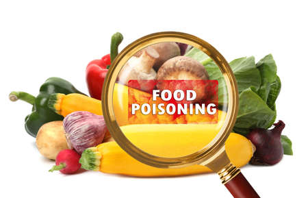 Magnifying glass and vegetables on white background. Food poisoning concept