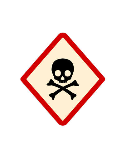 Skull and crossbones in red rhombus on white background as warning symbol