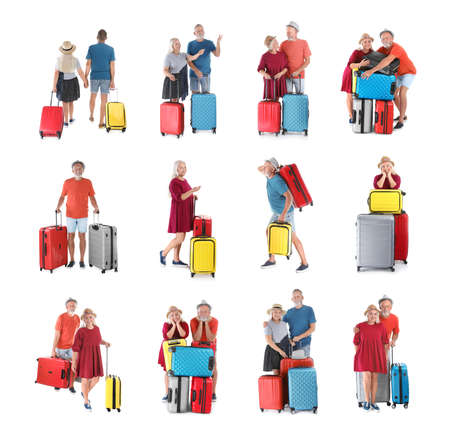 Senior people with different suitcases on white background, collage Imagens