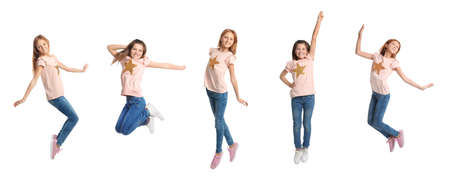 Collage of jumping school girls on white background. Banner design