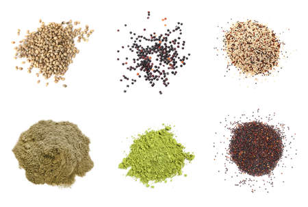 Set of different superfoods on white background, top view
