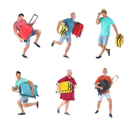 People with different suitcases on white background, collage