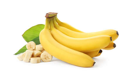 Delicious ripe bananas with leaves and pieces isolated on white Stock Photo