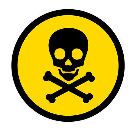 Skull and crossbones in yellow circle on white background as warning symbol