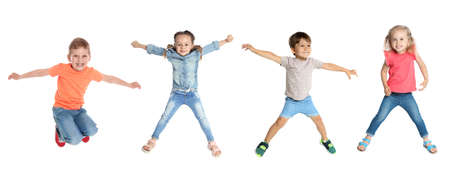 Collage of jumping children on white background, banner design. First time to school