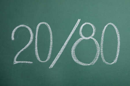 Numbers 20 and 80 written with chalk on green background. Pareto principle concept