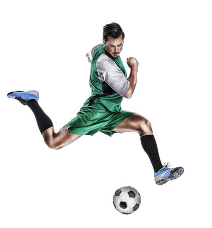Young man playing football on white background