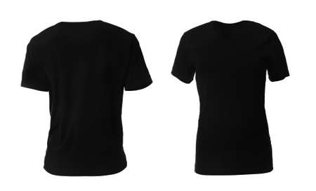 Black t-shirts on white background. Space for design